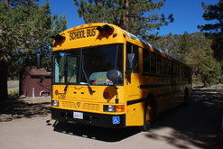 Wheelchair School Bus stopped in an outdoor education camp site