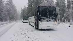 Two Motor Coaches stopped for a group in the snow